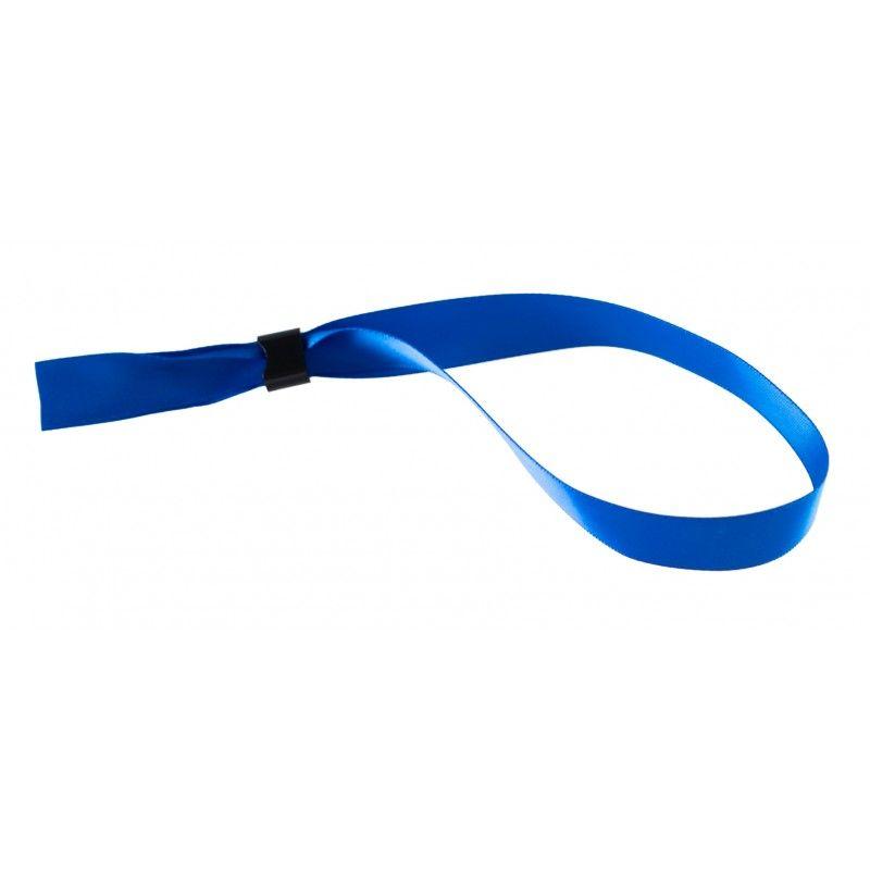 Bracelet tissu satin 15 mm avec boucle de fermeture - Bleu (lot de 100)