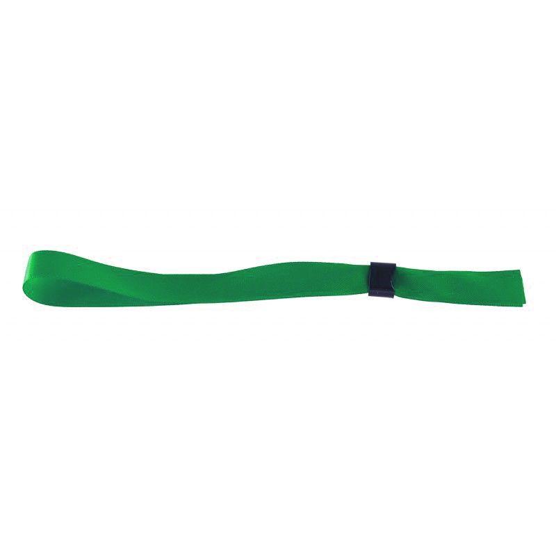 Bracelet tissu satin 15 mm avec boucle de fermeture - Vert (lot de 100)