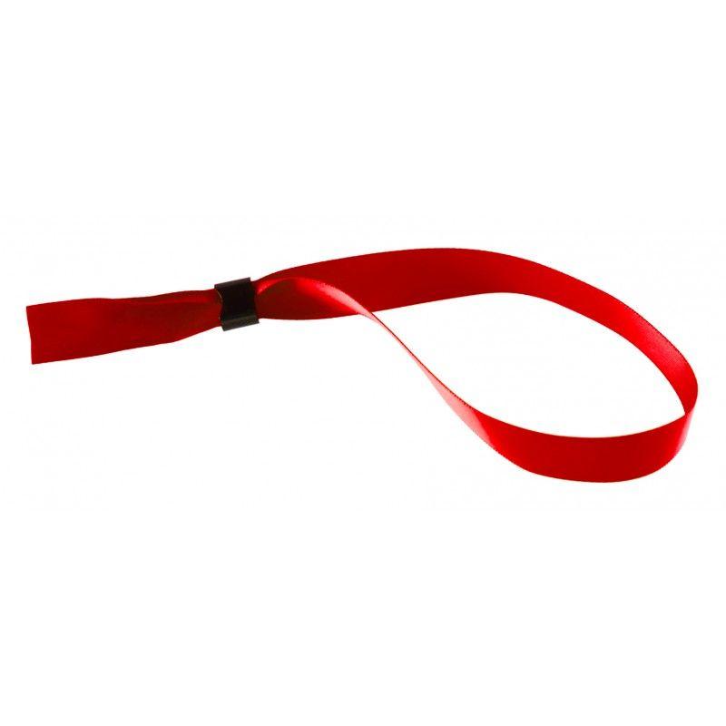 Bracelet tissu satin 15 mm avec boucle de fermeture - Rouge (lot de 100)