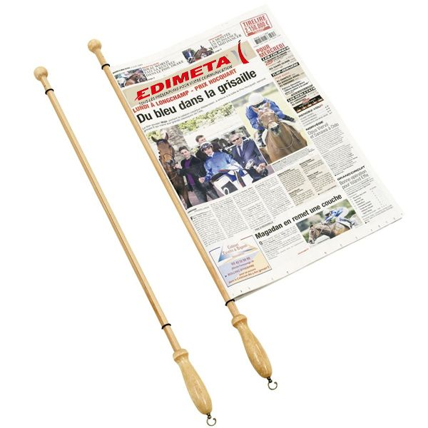 Baguette de lecture pour journaux en bois - L 80 cm