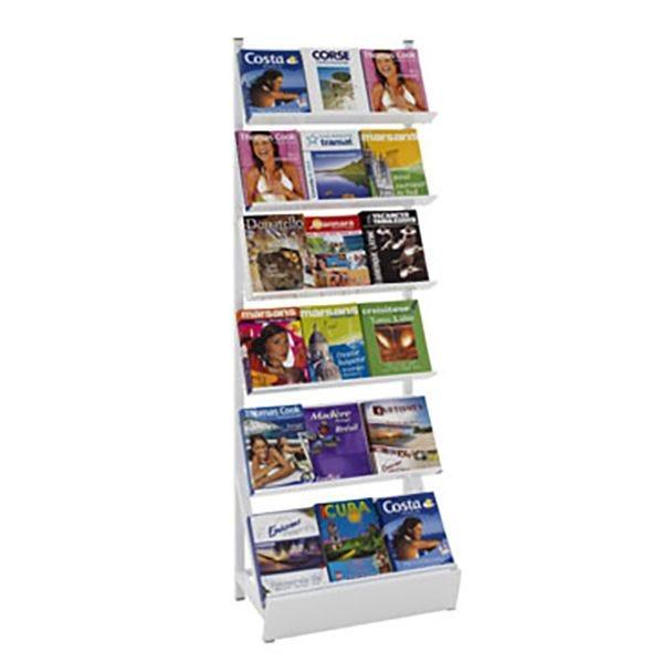 Présentoir Média-Rack® 6 étagères sans joue - L 65 X P 40 x H 200 cm