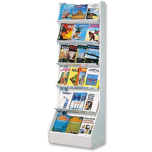 Présentoir Média-Rack® 6 étagères avec joues - L 69 X P 40 x H 200 cm