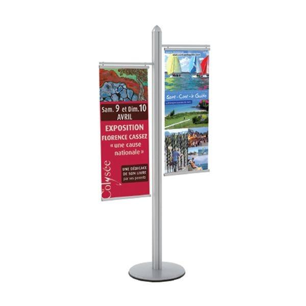 Poteau Info-Displays® avec 2 porte-kakémonos 40 cm - H 192 cm