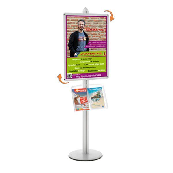 Présentoir Visual-Displays® Cadre 60 x 80 cm + 1 étagère - Ø 45 cm x H 190 cm