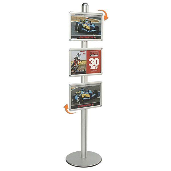 Présentoir Visual-Displays® 3 Cadres A3 - Ø 45 cm x H 190 cm