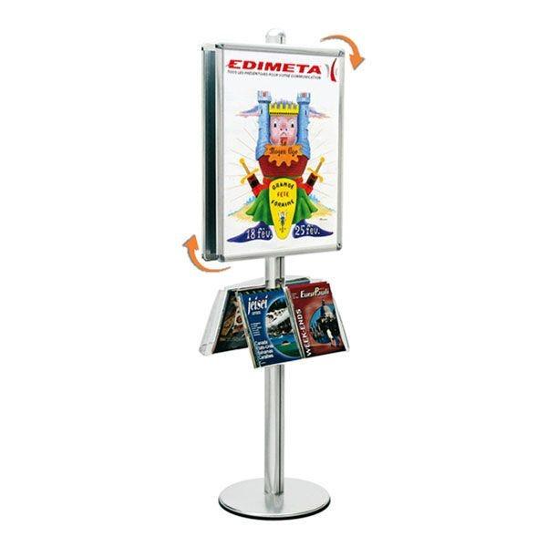Présentoir Visual-Displays® 2 Cadre 60 x 80 cm + 2 étagères - Ø 45 cm x H 190 cm
