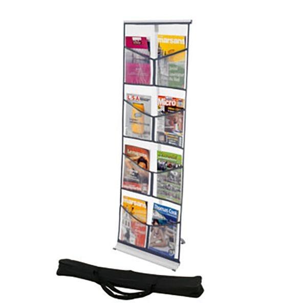 Présentoir pliant Brochure-Displays® 8 poches en nylon – L 54 x P 35 x H 146
