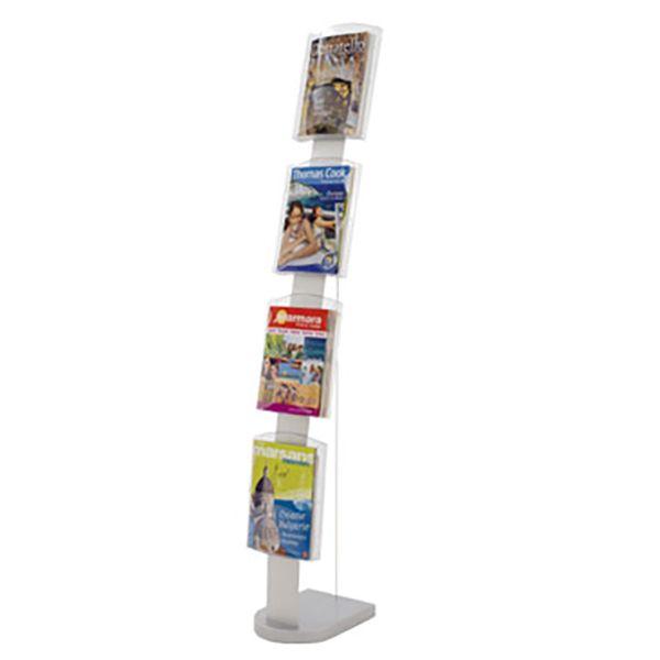 Présentoir en arc incliné pour brochures 4 cases A4 - L 24 x P 35 x H 167 cm