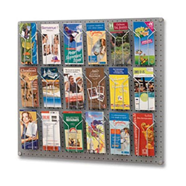 Kit panneau équipé 18 porte-brochures 1/3 A4 - L 80 x P 2 x H 72 cm