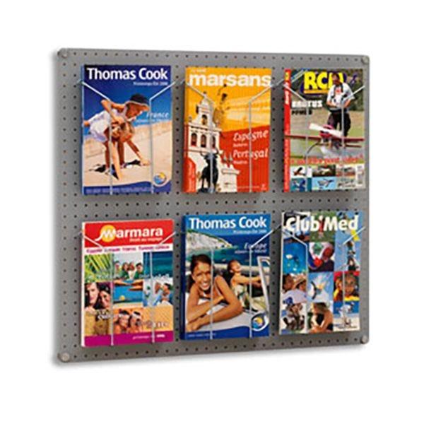 Kit panneau équipé 6 porte-brochures A4 - L 80 x P 2 x H 72 cm