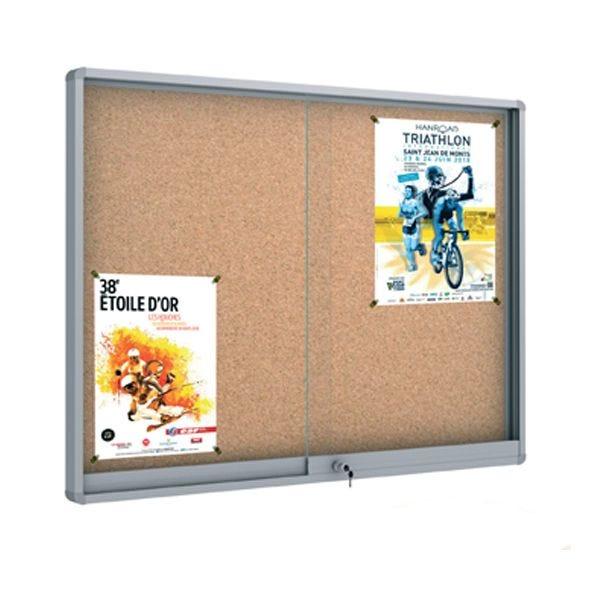 Vitrine d'intérieur 27 x A4 Glaces coulissantes Fond liège - 203 x H 100 cm