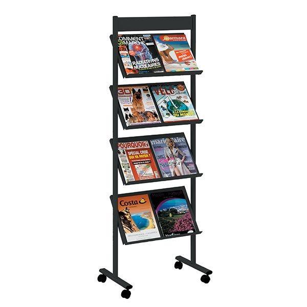 Présentoir mobile Brochure-Displays® Noir - L 51 x P 36 cm x H 154