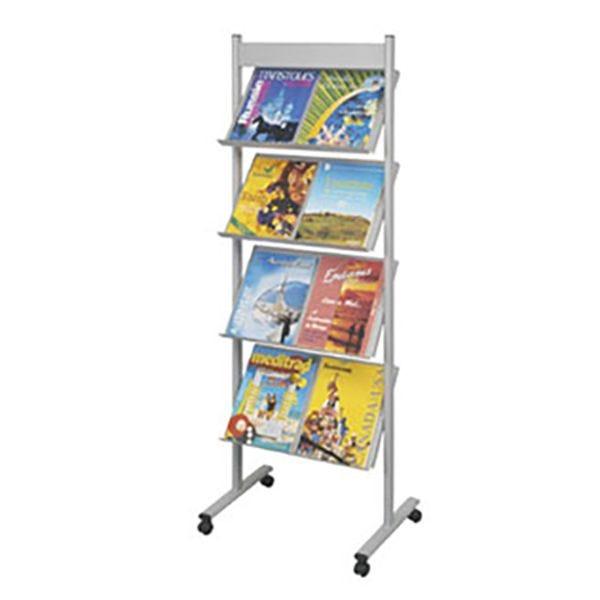 Présentoir mobile Brochure-Displays® Gris - L 51 x P 36 cm x H 154