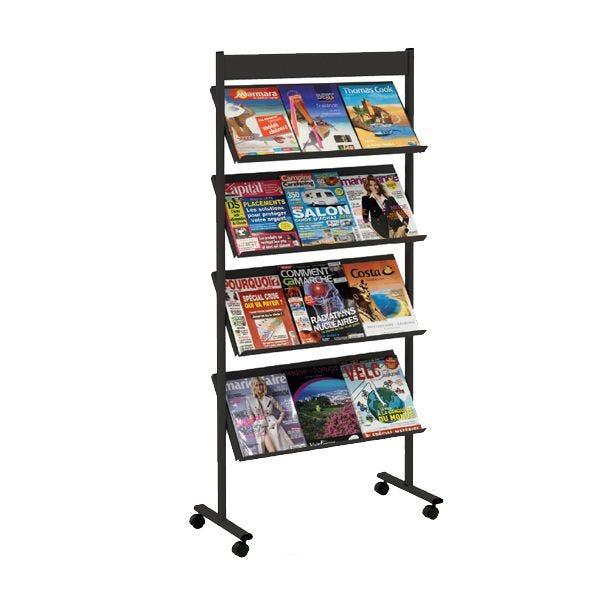 Présentoir mobile Brochure-Displays® Noir - L 70 x P 36 cm x H 154