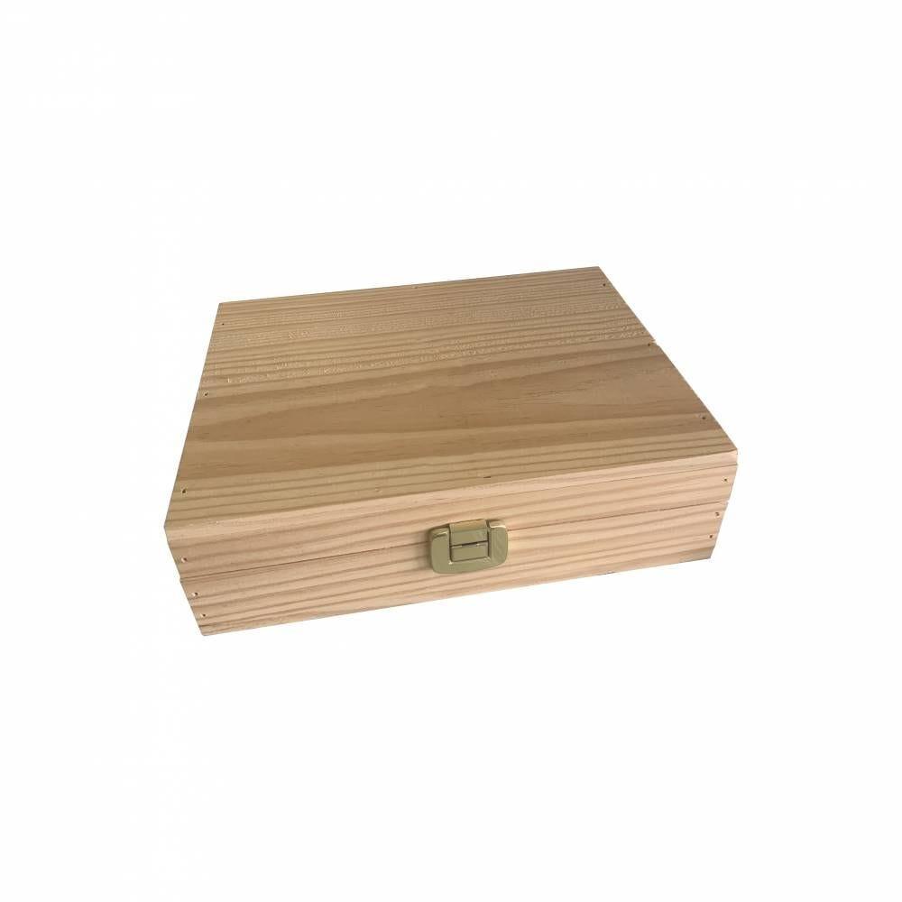 Coffret bois à fermoire et charnière large