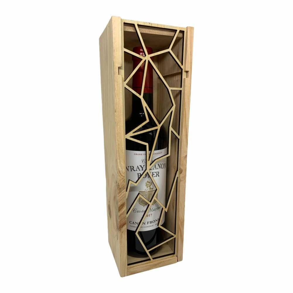 Caisse bois 1 bouteille Bordeaux à glissière ajourée Craquelure par 5