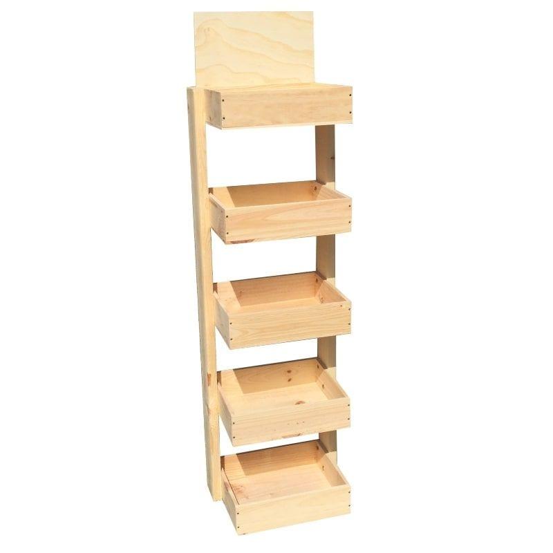 Mini Présentoir bois 5 niveaux - Hauteur 138 cm