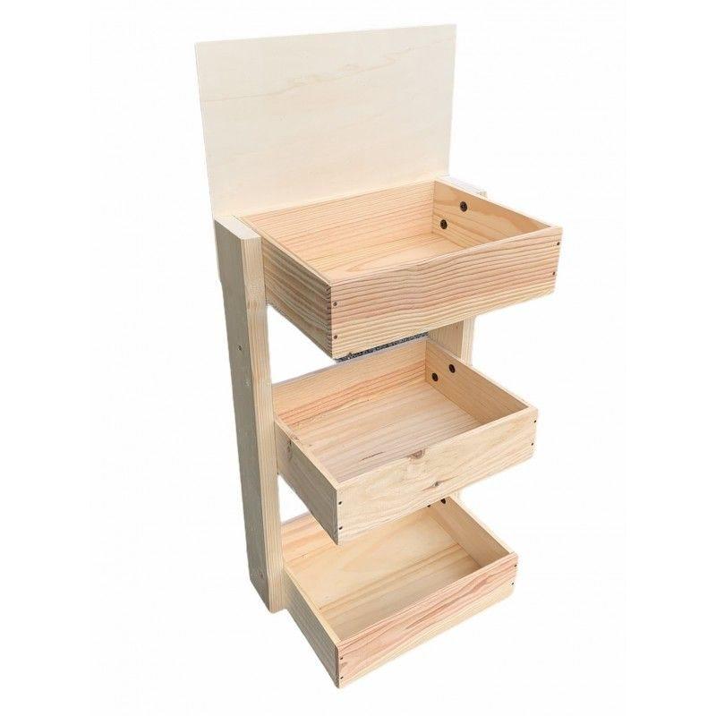 Mini Présentoir comptoir bois 3 niveaux - Hauteur 85 cm