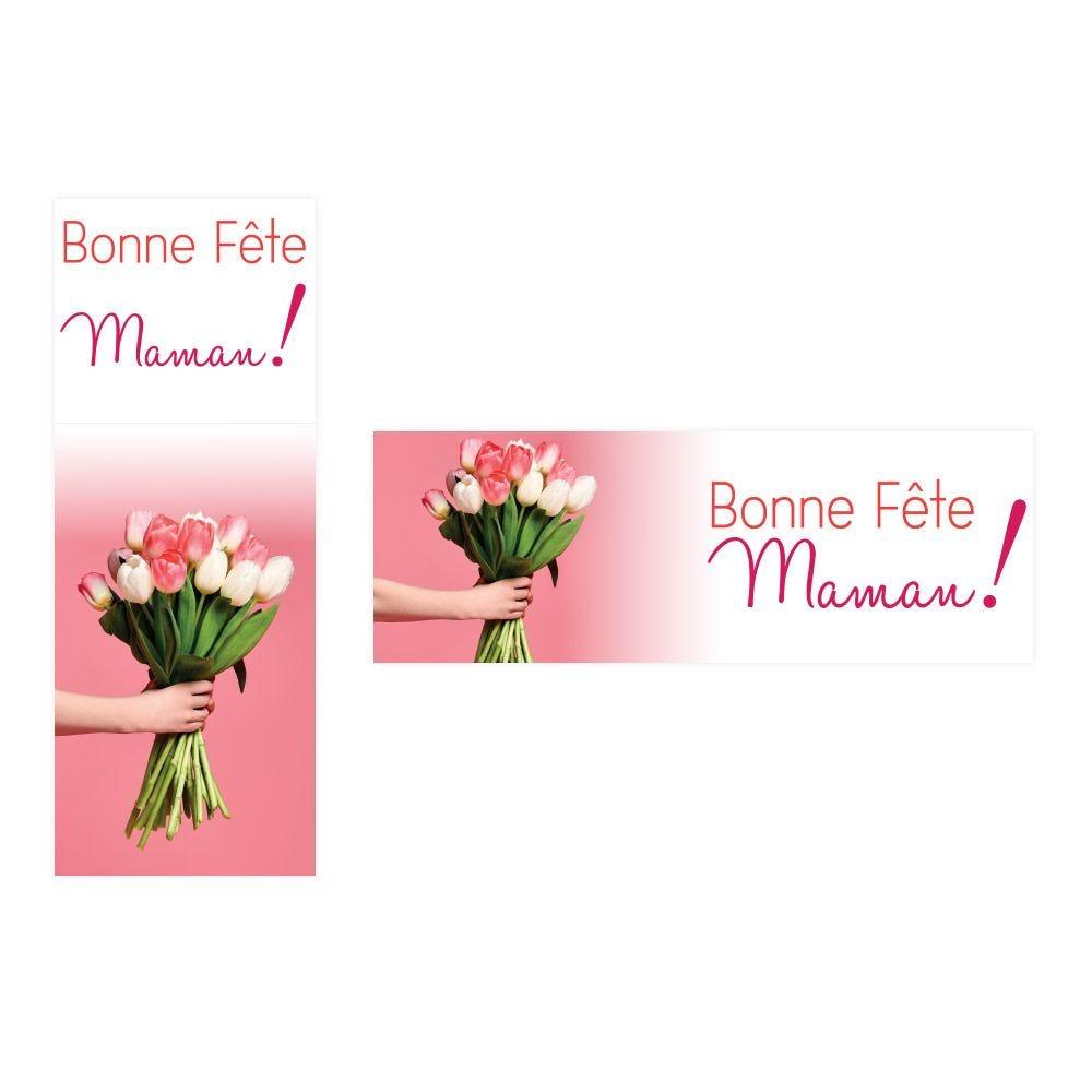 Kit d'affiches fête des mères Tulipes - 1 affiche 115x40 cm + 1 affiche 40x115cm (photo)