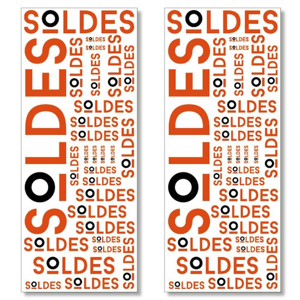 Kit 2 affiches soldes rouge et noir verticales 40x100 cm
