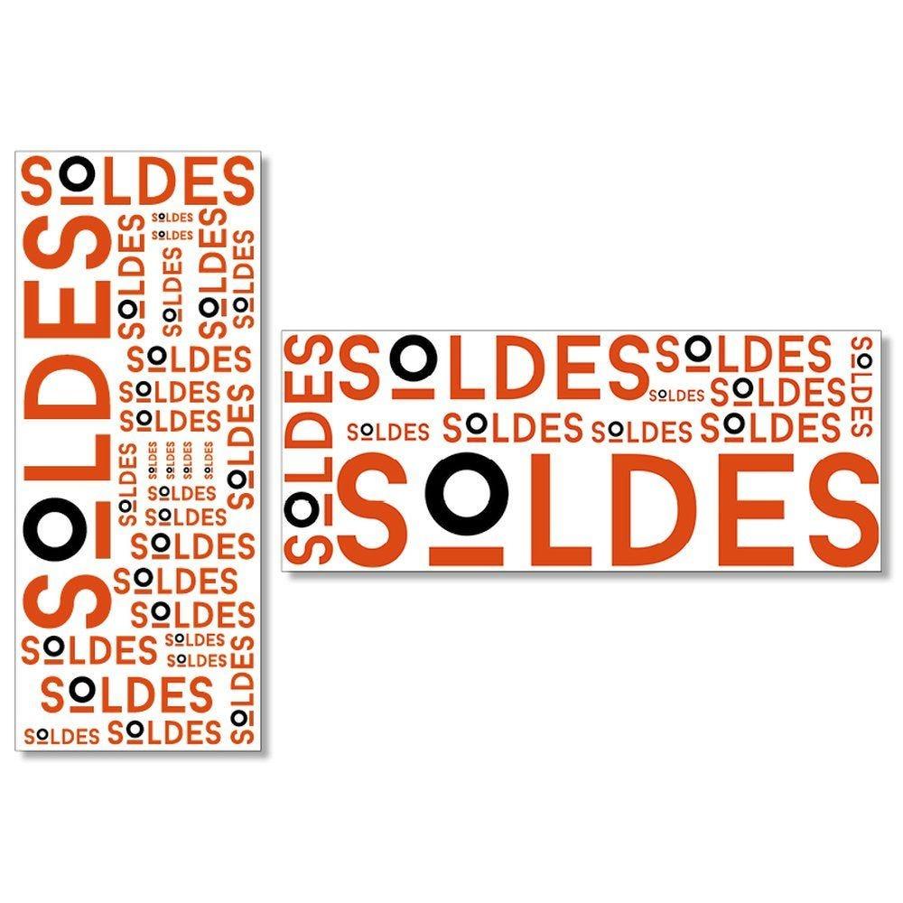 Kit 2 affiches soldes rouge et noir 1 affiche 40x100 cm + 1 affiche 100x40 cm