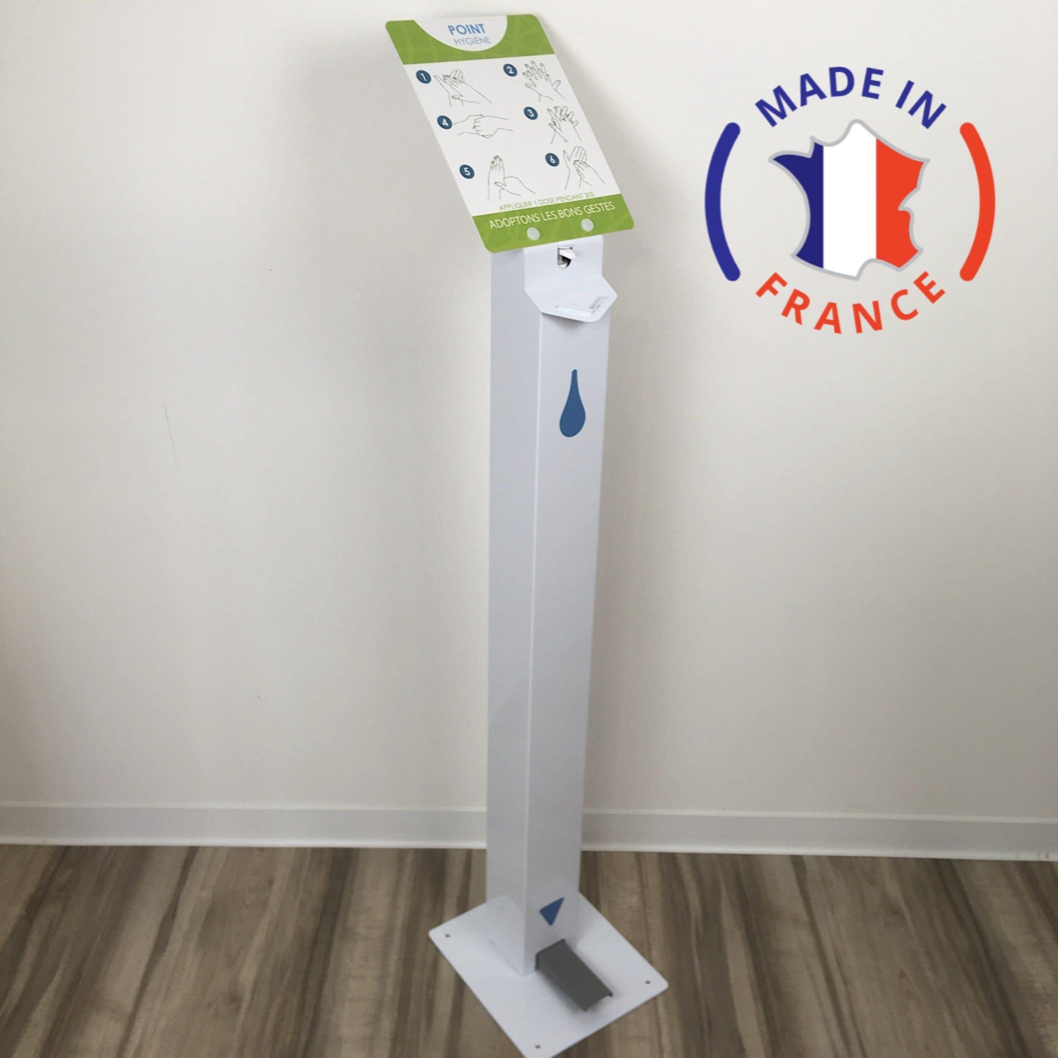 Borne distributeur de gel hydroalcoolique à pédale 1L avec porte document- blanc (photo)