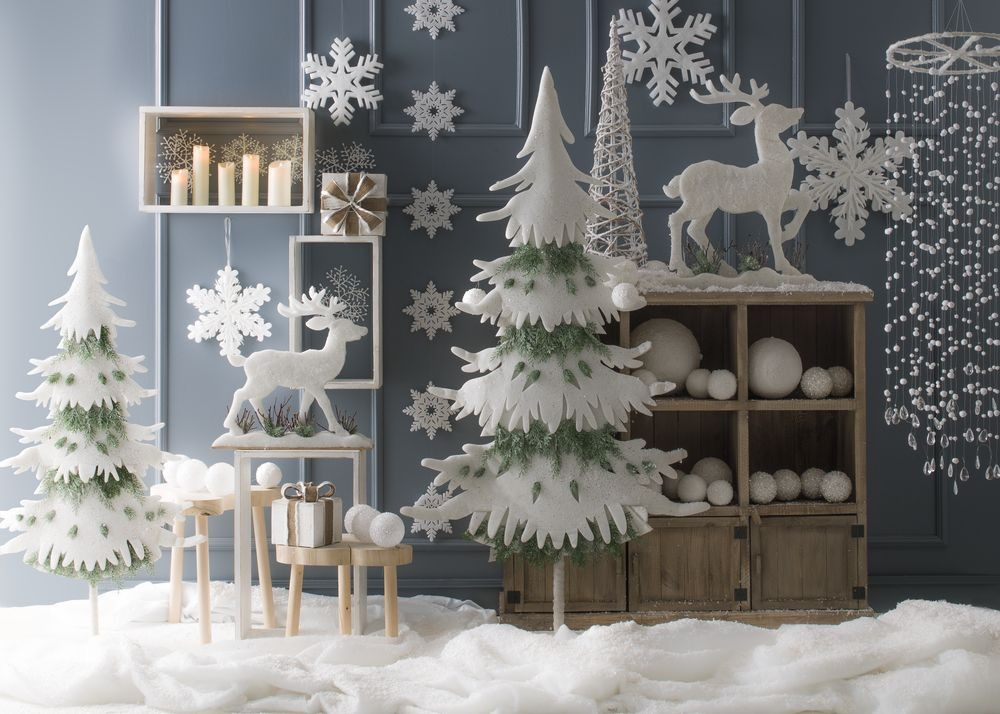 Sapin ouate blanc avec branches sapin vert - Decoration sapin enneige ...
