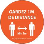 Autocollant Gardez 1m de distance orange vinyle Diam:100mm