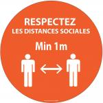 Autocollant Respectez vos distances orange vinyle Diam:100mm