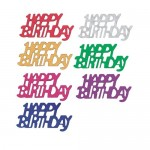 Confettis décoration plastique couleurs assorties 'Happy Birthday' 15 gr par 24