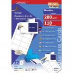 Pochette 110 double cartes blanches microline - 200g 85 x 54 mm