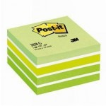 Post-it cube aquarelle vert 76 x 76 mm