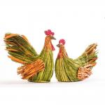 Poule verte et orange 45x30x33cm ou 45x30x40.5cm - 2 dimensions possibles