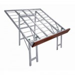 Table aluminium inclinée front bois 120x120x97cm