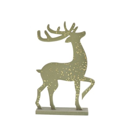 Cerf or pailletté sur socle L 22 x H 31 cm-Noël Chic & or