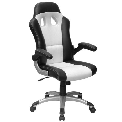 fauteuil de bureau baquet pour gamers avec accoudoirs rabattables noir blanc si ges et. Black Bedroom Furniture Sets. Home Design Ideas