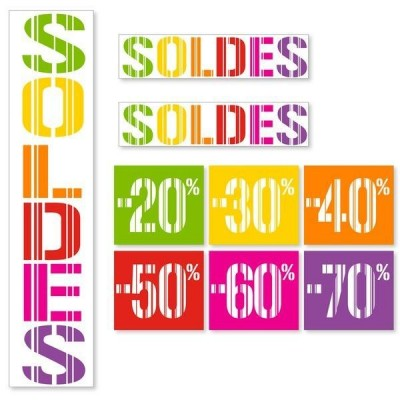 Kit affiches soldes Gencod Multicolore - pack 1-Affichage soldes