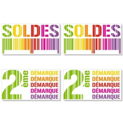 Kit affiches soldes Gencod multicolore - pack 2-Affichage soldes