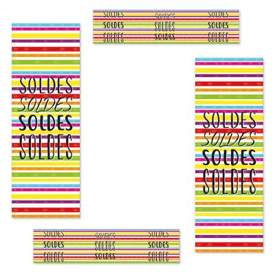 Kit d'affiches soldes rayures multicolores-Affichage soldes