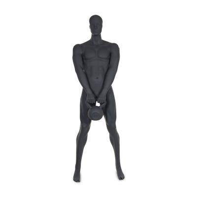 Mannequin homme musculation n°4 tête abstraite gris graphite ral 7024 + socle-Top Sports