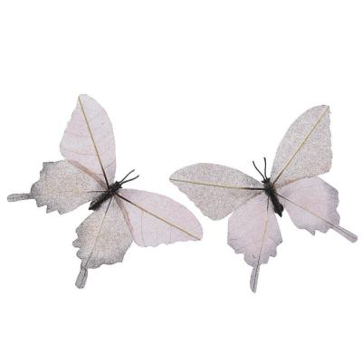 Papillon sur clip rose / perle L 14,5 x P 11cm - 2 coloris possibles