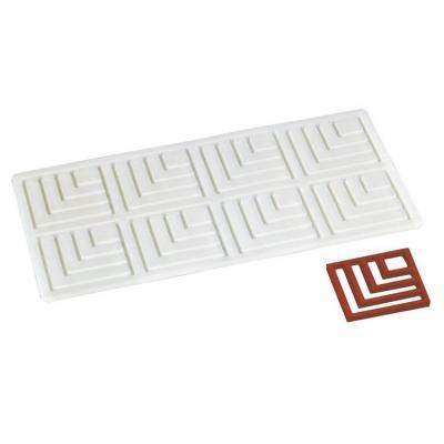 Plaque silicone décor choco 8 moules 225 x 115 x 3.5 mm 50 x 50 x 2.5 mm n°2-Ustensile fabrication chocolat et sucre