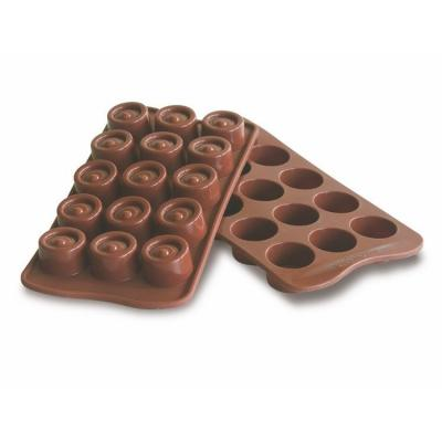Plaque silicone pour chcolat easy choc 15 ronds-Ustensile fabrication chocolat