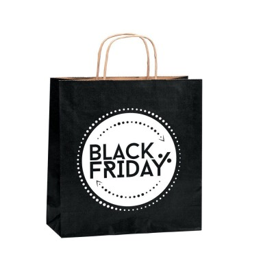 "Sac papier ""Black Friday"" poignées torsadées 36x12x41cm - par 50-Black Friday"