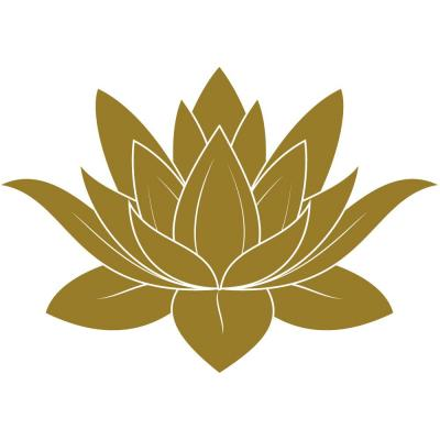 Sticker fleur de lotus or bronze - 35 x 50 cm-Stickers vitrine