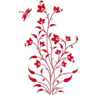Sticker rouge plante libellule - 94 x 150 cm-Stickers vitrine
