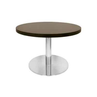 table basse avec plateau rond diam tre 60 cm weng et pied inox 48 cm de hauteur mobilier de. Black Bedroom Furniture Sets. Home Design Ideas