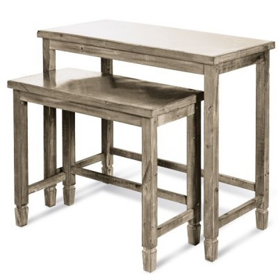Table bois brut avec top zinc L100 x P50 x H90cm - L80 x P40 x H70cm - par 2-Tables gigognes