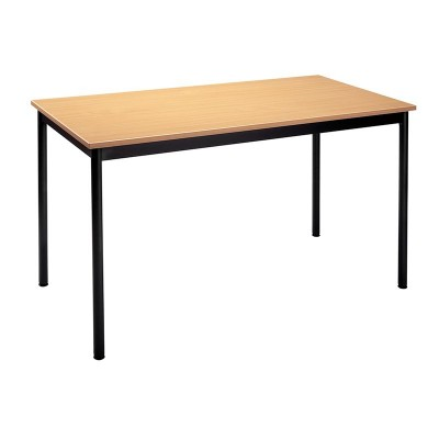 Table de réunion modulaire forme rectangle 120x60 cm hêtre/noir-Tables de réunion