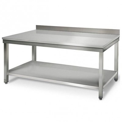 table de travail inox avec dosseret tag re 2 m. Black Bedroom Furniture Sets. Home Design Ideas